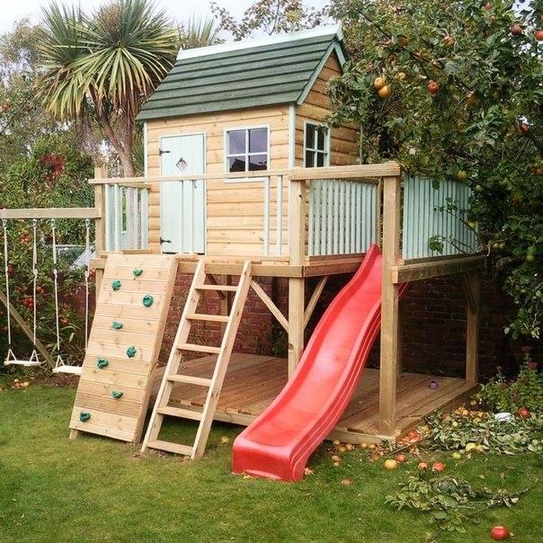 Детская площадка домик своими руками фото и идеи